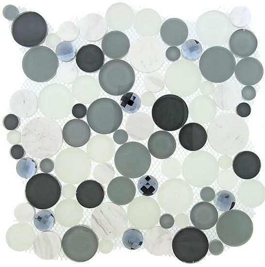Symphony Bubble Round Mosaic Tile Sbs1512 Grey Fizz Glass Natural Stone Marble Interlocking Sheet Sample Room Paint Interior Paint Painting Bathroom