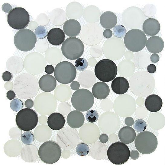 Symphony Bubble Round Mosaic Tile Sbs1512 Grey Fizz Glass