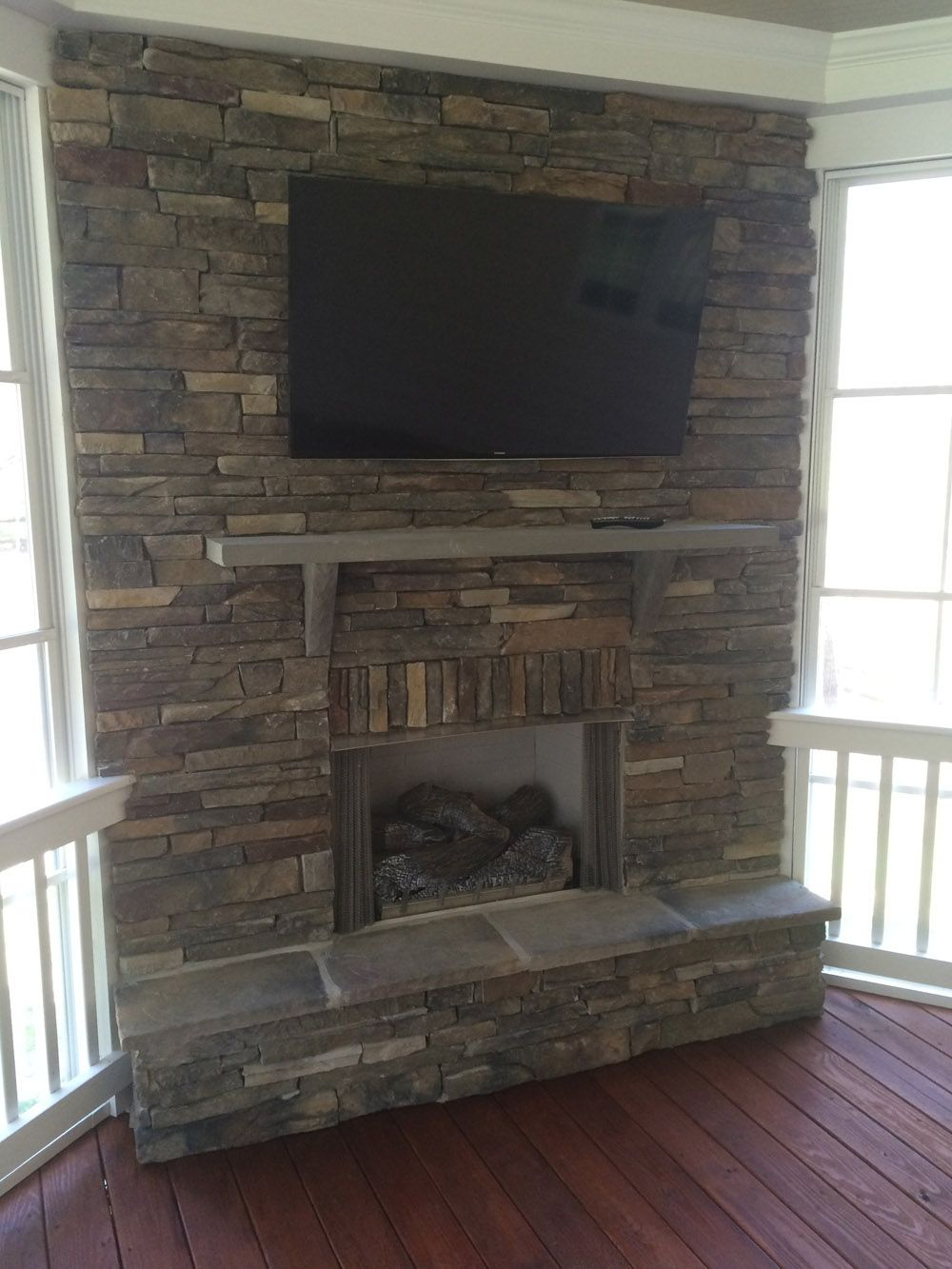 Stacked stone fireplace on 3 season porch salt lake for Porch durham