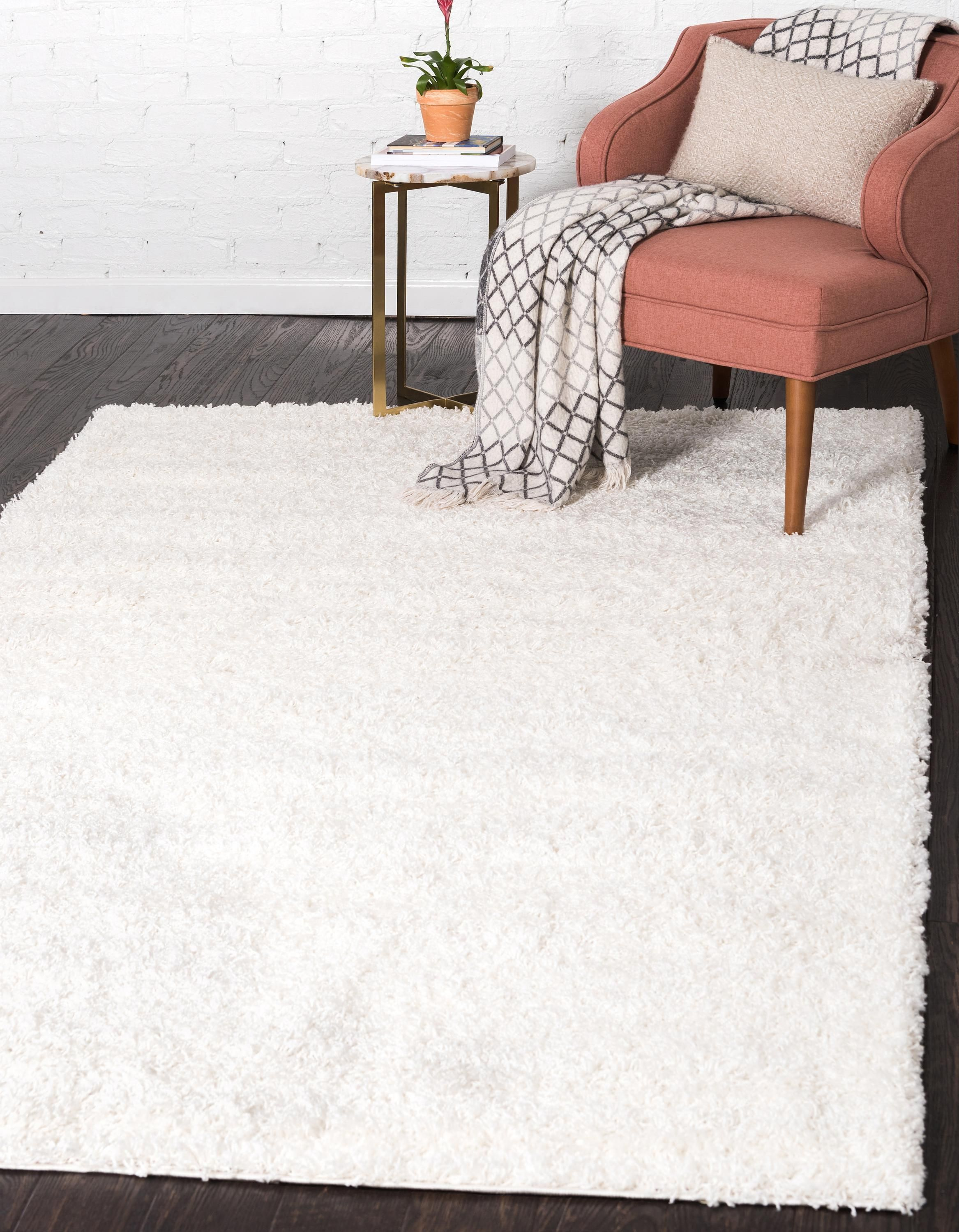 Snow White Unique Loom 12 X 15 Solid Shag Rug Area Rugs Rugs Com White Area Rug White Rug Area Rugs