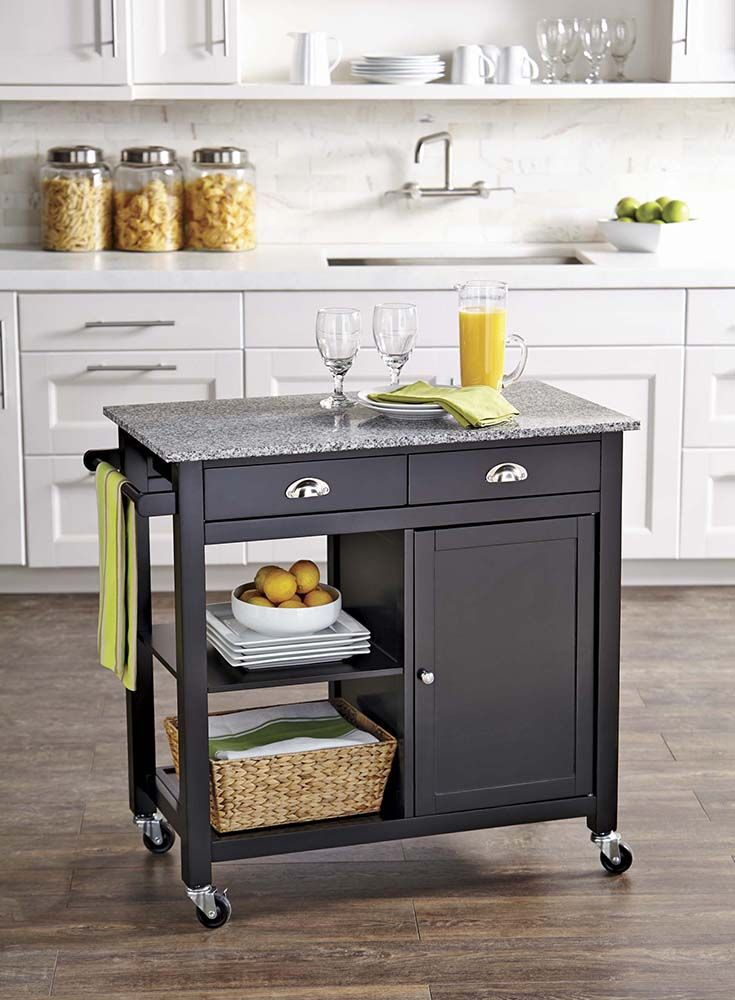 better homes and gardens kitchen cart blackgranite - Homes And Gardens Kitchens