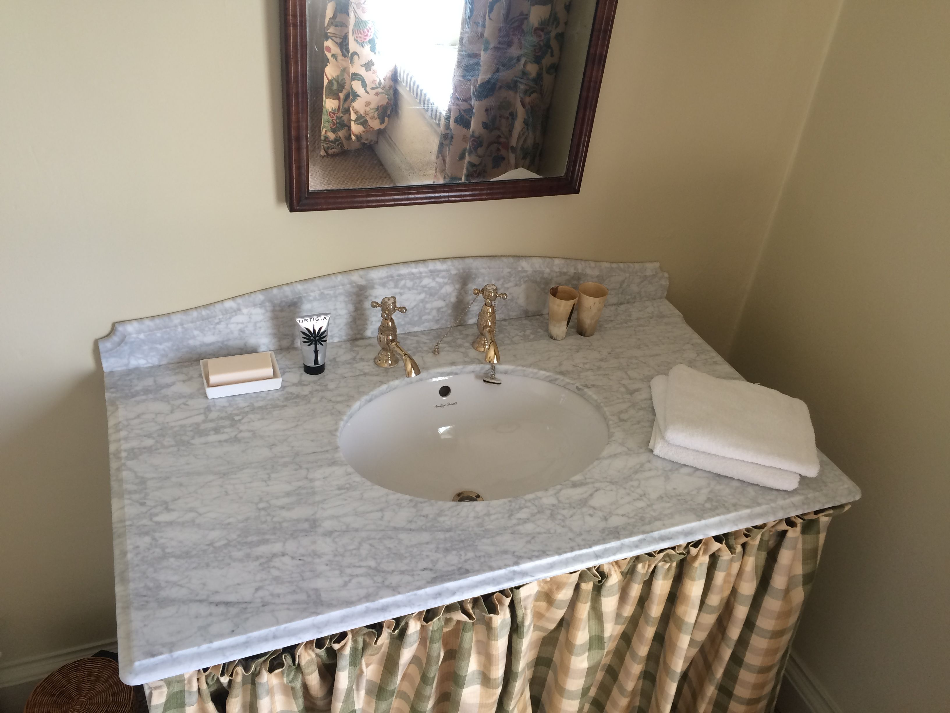 Carrara vanity top and shaped splashback with Ogee edge detail ...