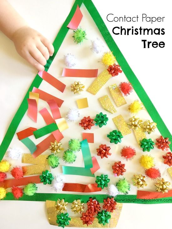 Toddler Christmas Activity Using Sticky Contact Paper Christmas