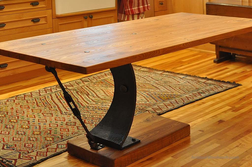 Cantilever Table With Metal Base   Antique Woodworks