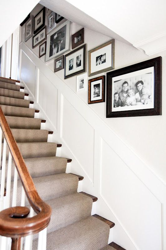 Awesome arranging pictures on a stair wall ideas