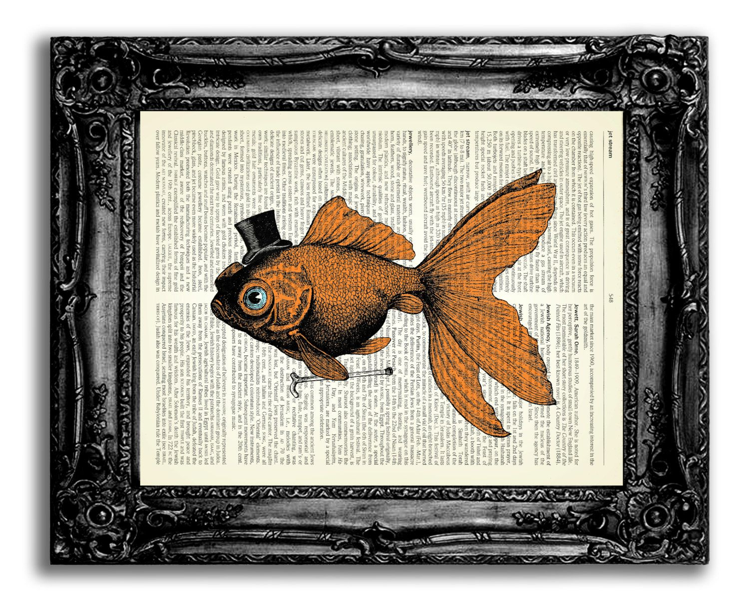 Goldfish In Top Hat With Cane Art Print ORIGINAL ARTWORK Bathroom Wall  Decor Funny Office Wall