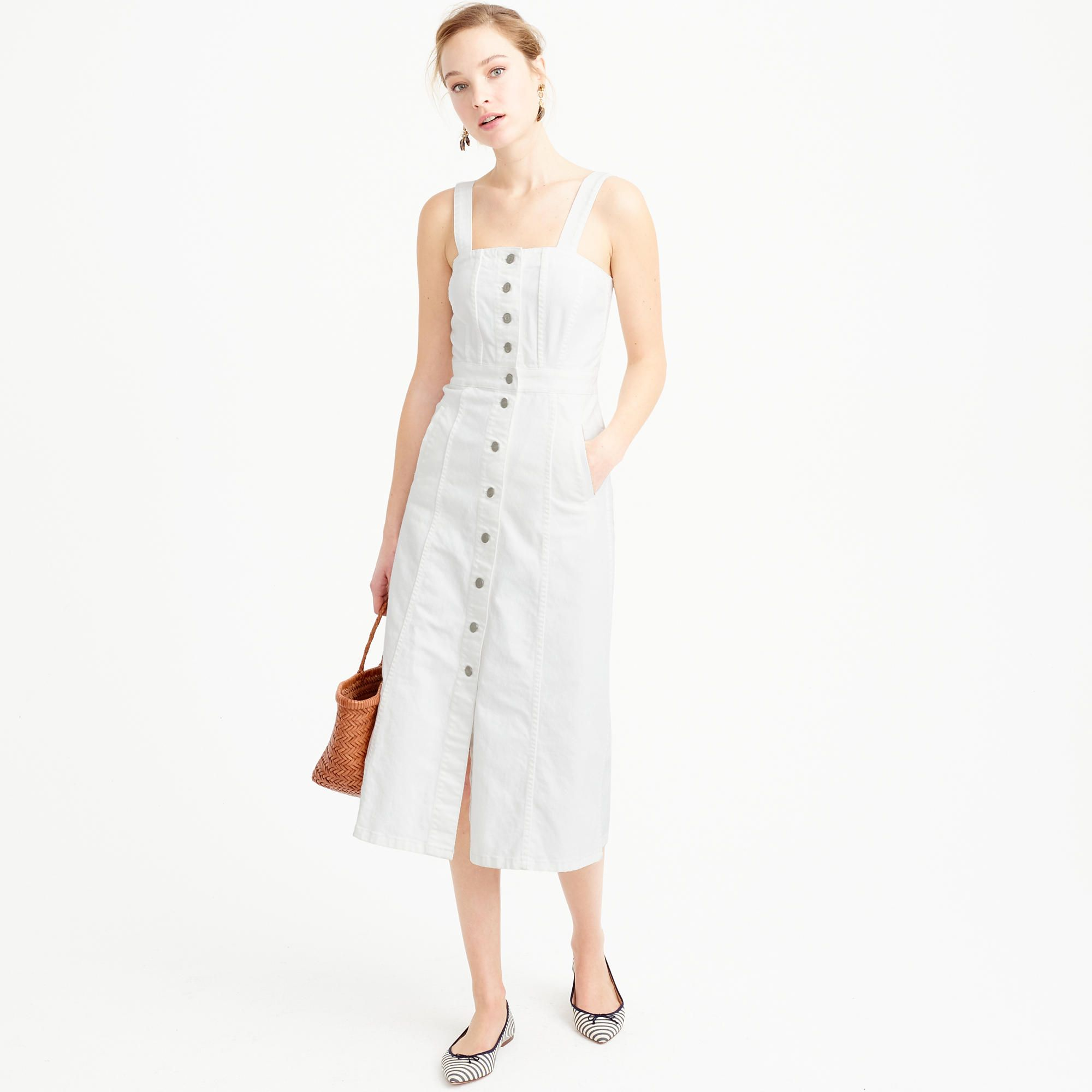 buttonfront dress style pinterest white denim dress