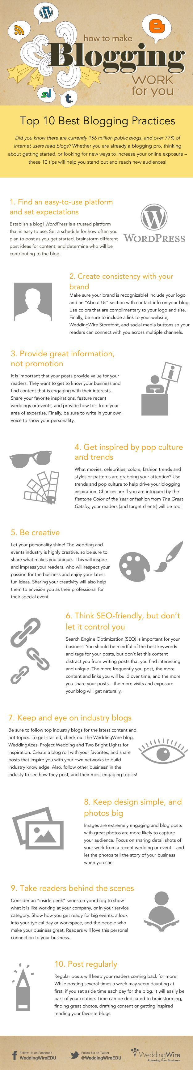 How to make blogging work for you - Ten best blogging practices. Infographic.