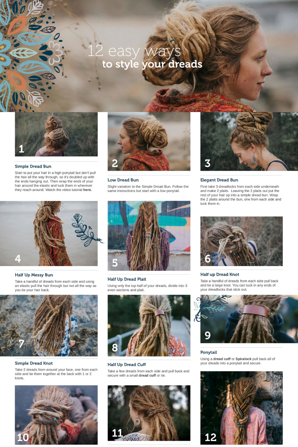 12 Easy Ways To Style Your Dreads Dreadhairstyles Free Pdf Download Of 12 Simple Dreadlock Hairstyl Dread Hairstyles Dreadlock Accessories Hair Styles