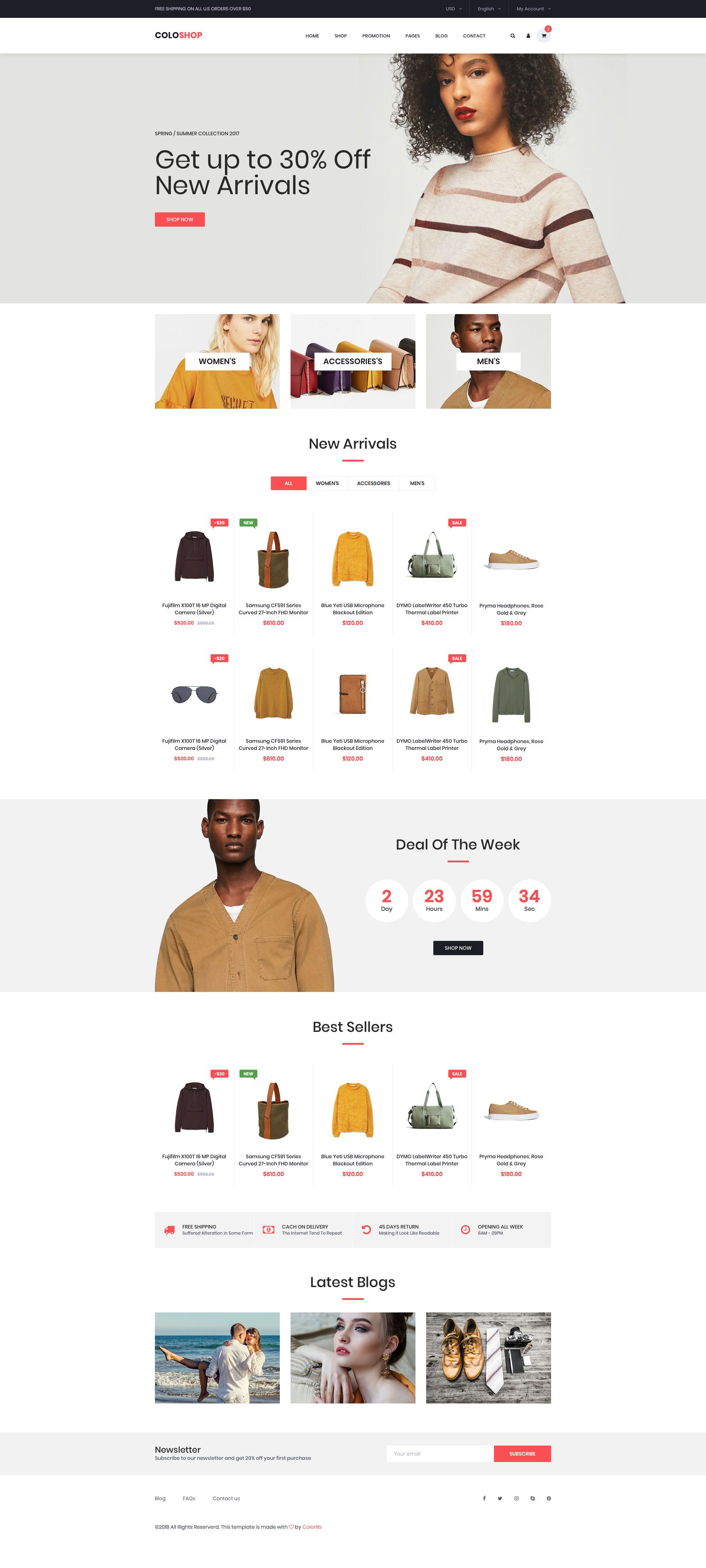 Coloshop Free Responsive Html5 Bootstrap Ecommerce Template Htmltemplates Co Ecommerce Template Ecommerce Website Template Free Html Website Templates