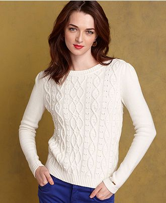 Tommy Hilfiger Sweater, Long-Sleeve Cable-Knit Crew-Neck - Womens Sweaters - Macy's