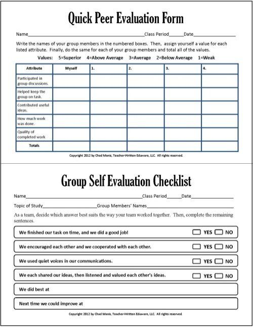 Cooperative Learning This free PDF packet includes documents for - performance self evaluation form