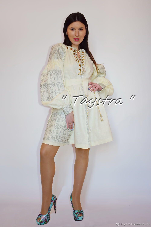 326e10457b91f5 Платье Бохо вышитое, вышиванка лен этностиль, бежевое короткое платье -  купить или заказать в