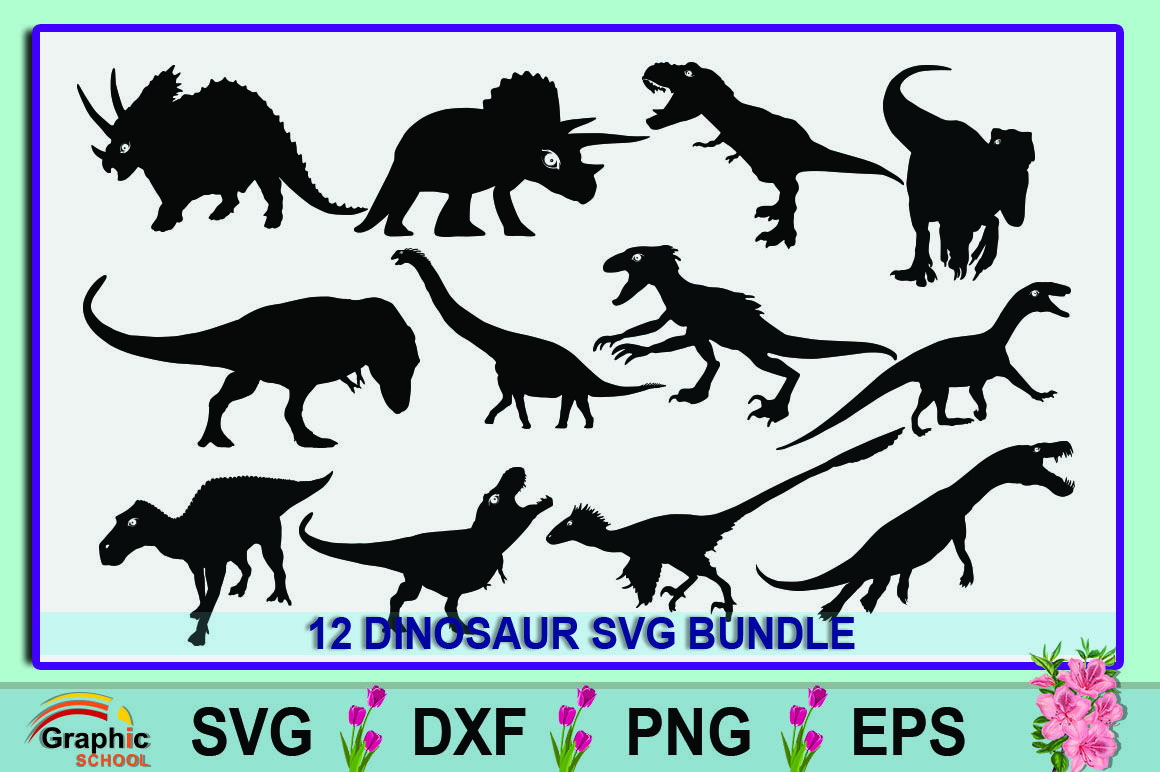 Dinosaur Svg Bundle Graphic By Graphic School Creative Fabrica School Creative Graphic Flower Tattoo Drawings