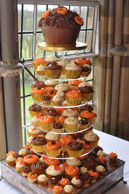 Autumn themed wedding cupcakes with giant rose cupcake - gold, cream, brown and orange