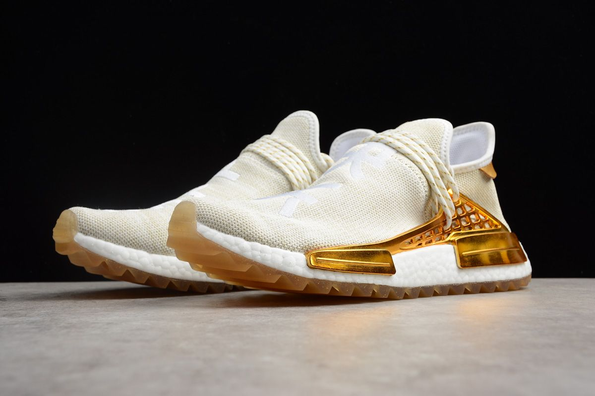 "797a1e7c80abf 2018 China Exclusive Pharrell x adidas NMD Human Race ""Happy"" Metallic Gold  Footwear White"