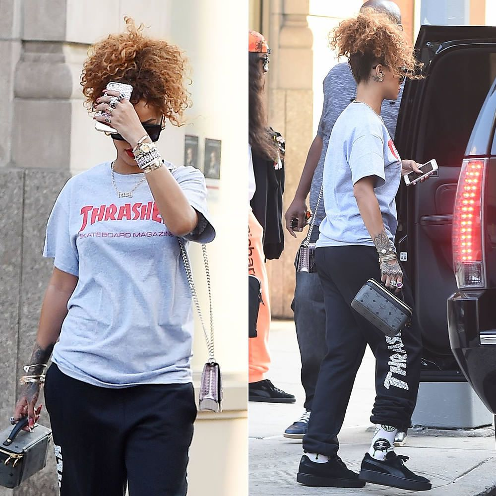 481279c2dce4 Rihanna wearing Thrasher skate mag t-shirt