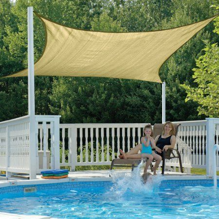 ShadeLogic Sun Shade Sail 12' Square, Sand, Brown