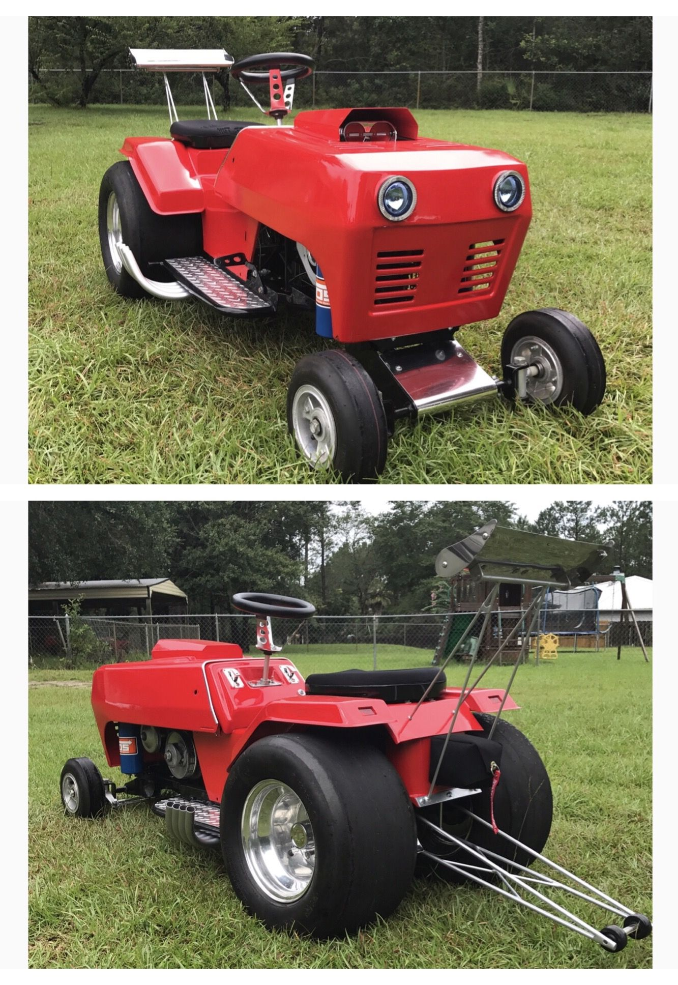 Custom Racing Dragster Lawn Mower powered by a B&S World