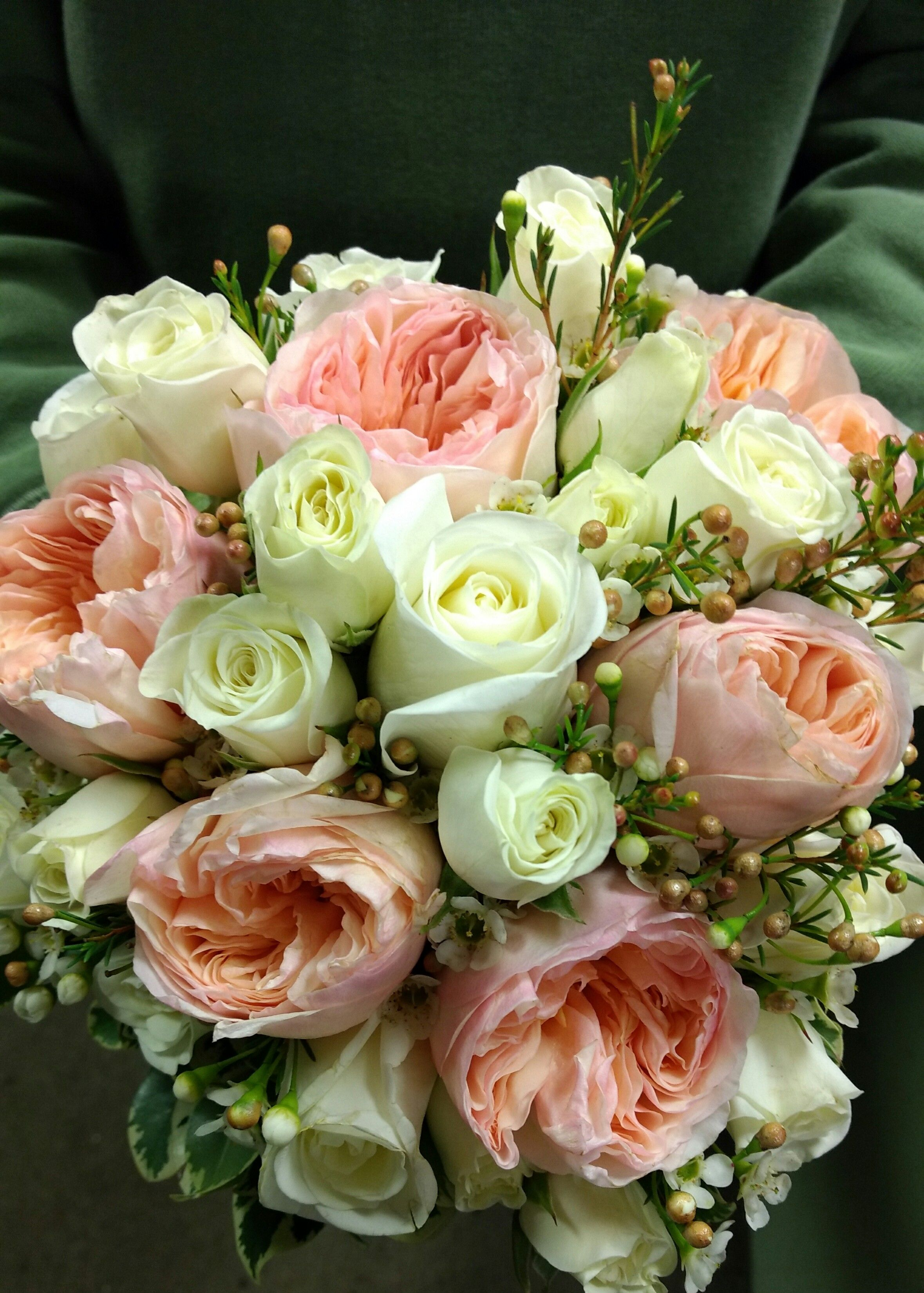 Peach and white all rose bouquet Wedding flowers, Fresh
