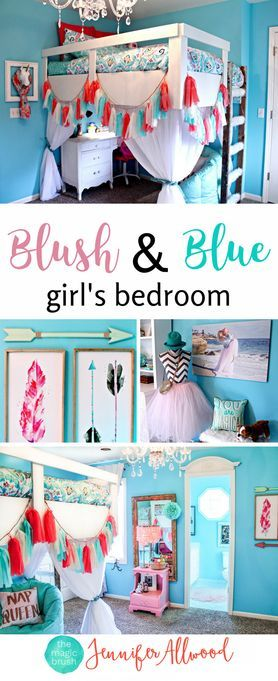 Gorgeous Blush & Blue Girls Bedroom by Jennifer Allwood - Girls Bedroom Decorating Ideas - Tween Bedroom with feather art, arrow art and a fun DIY loft bed | white girls furniture