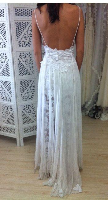 Stunning low back white lace wedding dress by Graceloveslace ...