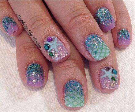 trendy nails gel summer mermaid 31 ideas  summer french