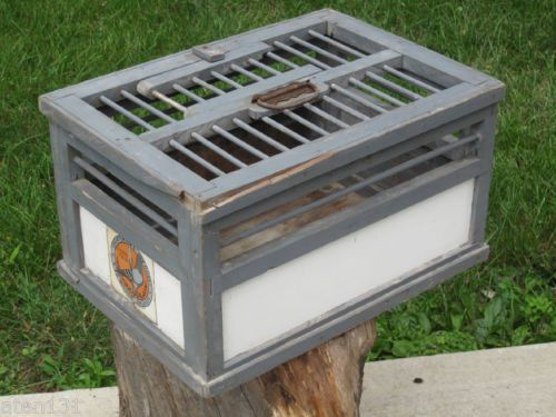 Vintage antique homing racing pigeon wood crate cage for Wooden chicken crate plans