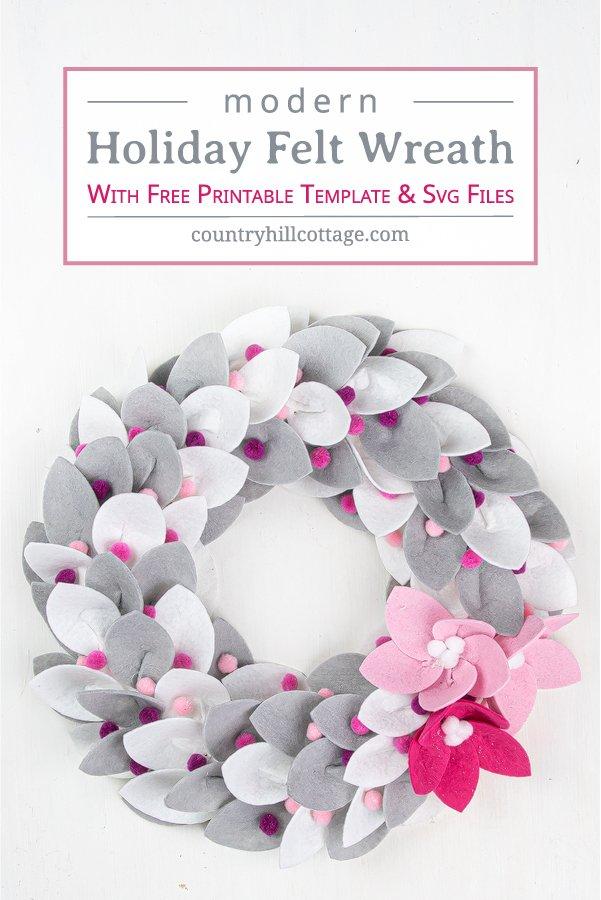 Photo of DIY Christmas felt wreath with felt poinsettia 2 ways