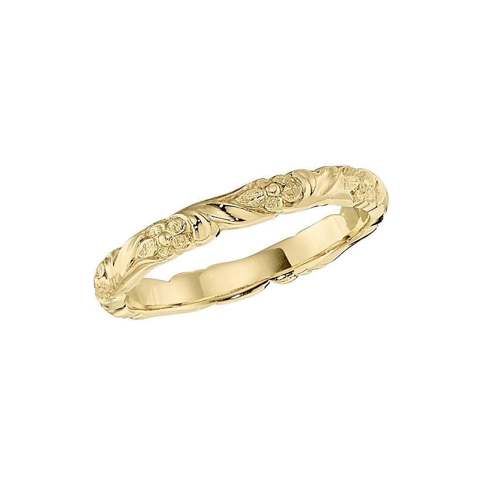 Flower Stackable Wedding Band Diamond flower 18k gold and Diamond