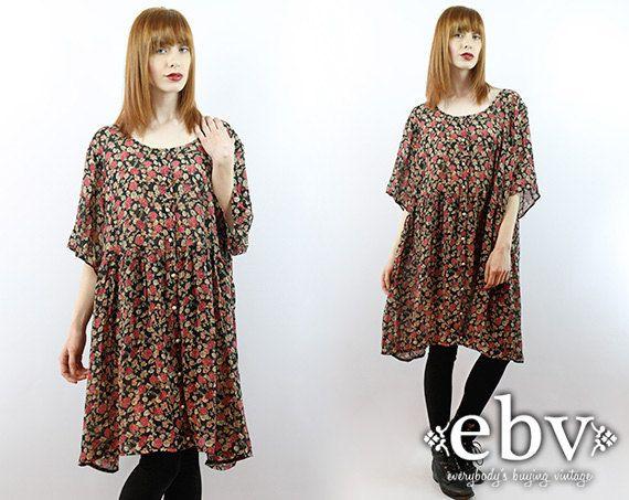 #Vintage #90s #Grunge Black Floral Mini Dress, fits 2X/3X by shopEBV http://etsy.me/1npdmRf via @Etsy #softgrunge #plussizefashion #plussize, $58.00