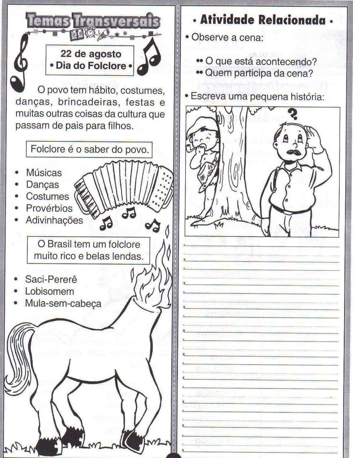 Folclore Lendas E Atividades Atividades Sobre Folclore