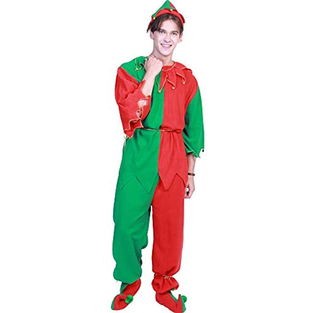 Da Uomo Verde Elf Boy Costume Natale Santas Helper vestito