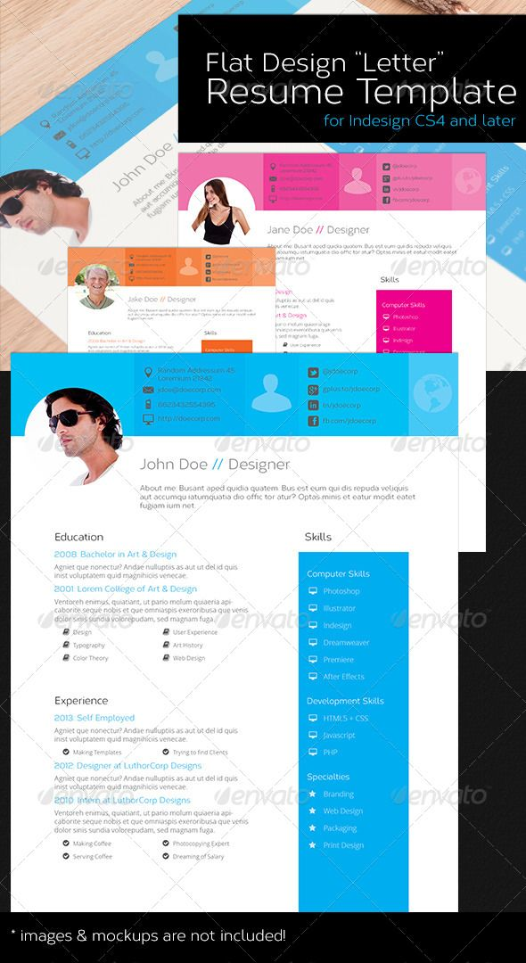 Resume Template  Us Letter  Flat Design Design Letters And Template
