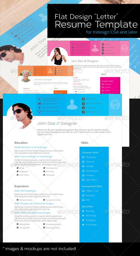 Resume Template Us Letter Lettering Design Resume Template Flat Design
