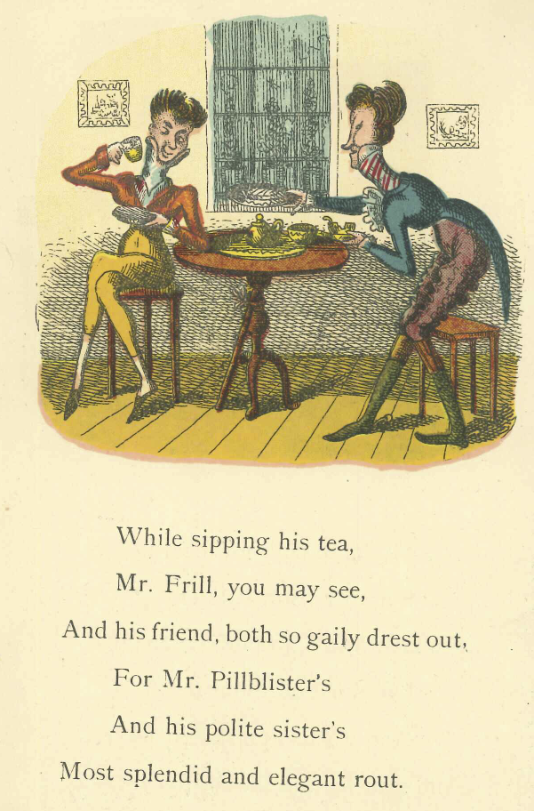 Page 5: Mr. Frill and his friend drinking tea