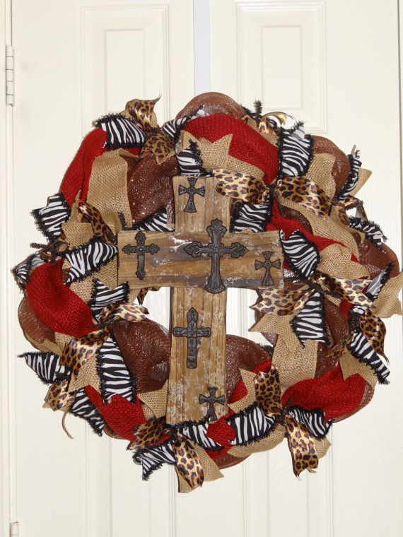 Brown, Rust Red and Animal Print Cross Front Door Wreath on Etsy, $65.00