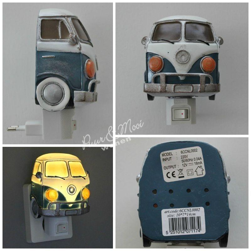 Nachtlampje VW Bus Blauw  Kinderkamer  Slaapkamer peuter