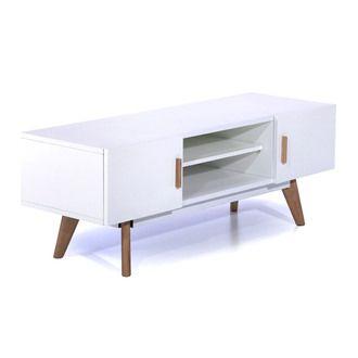 meuble tv bas en bois avec 2 portes et 2 niches l120cm nordik - Meuble Tv Vintage Andersen