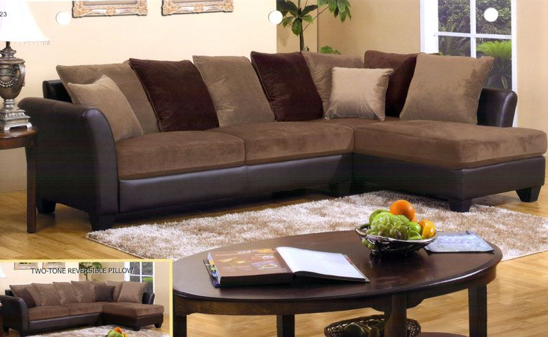 Modern Sofa Chocolate Brown Sectional Sofa with Chaise