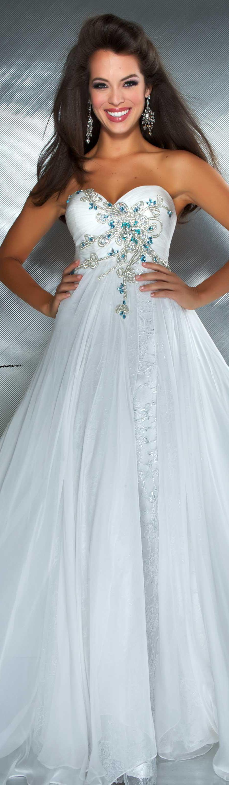 Mac duggal couture dress white multi strapless long formal dress