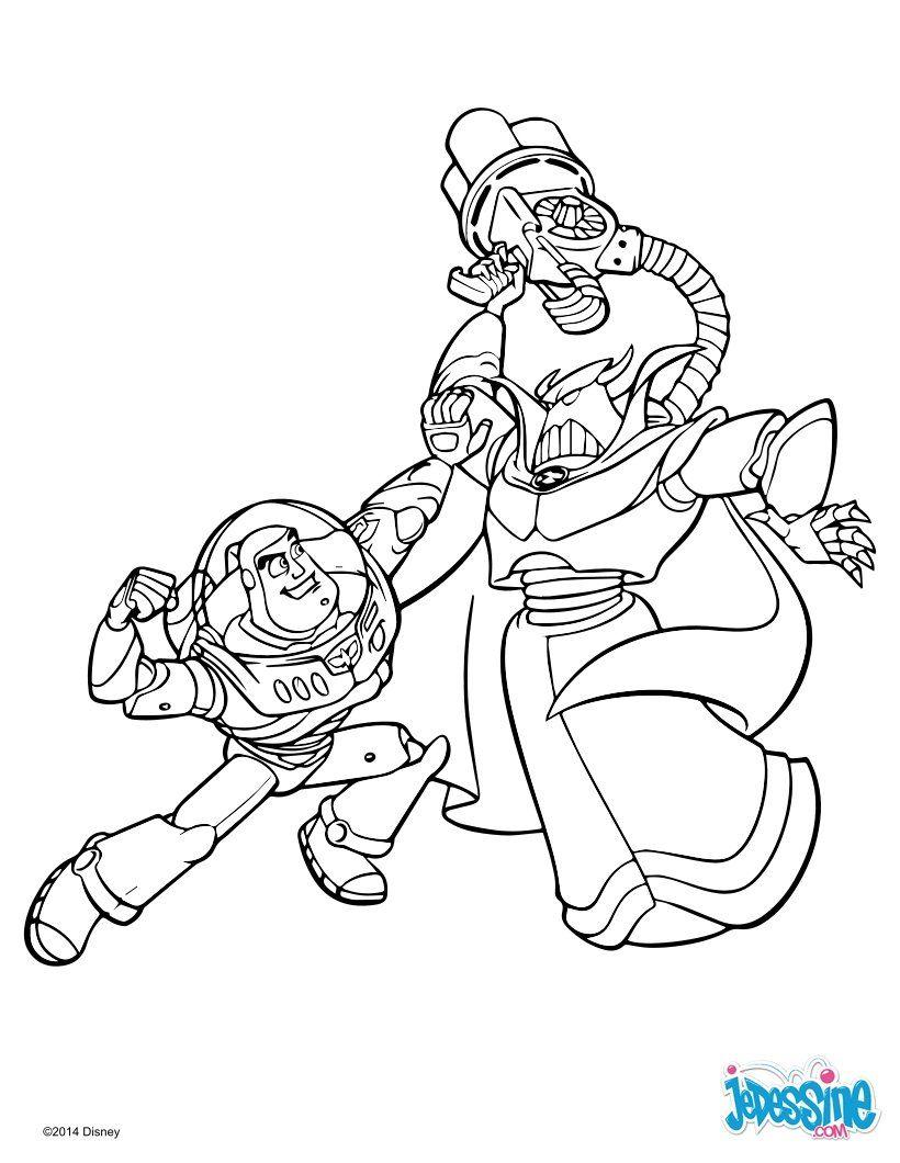 Un joli coloriage de Toy story 20 avec ici Buzz et Zorg. Un dessin