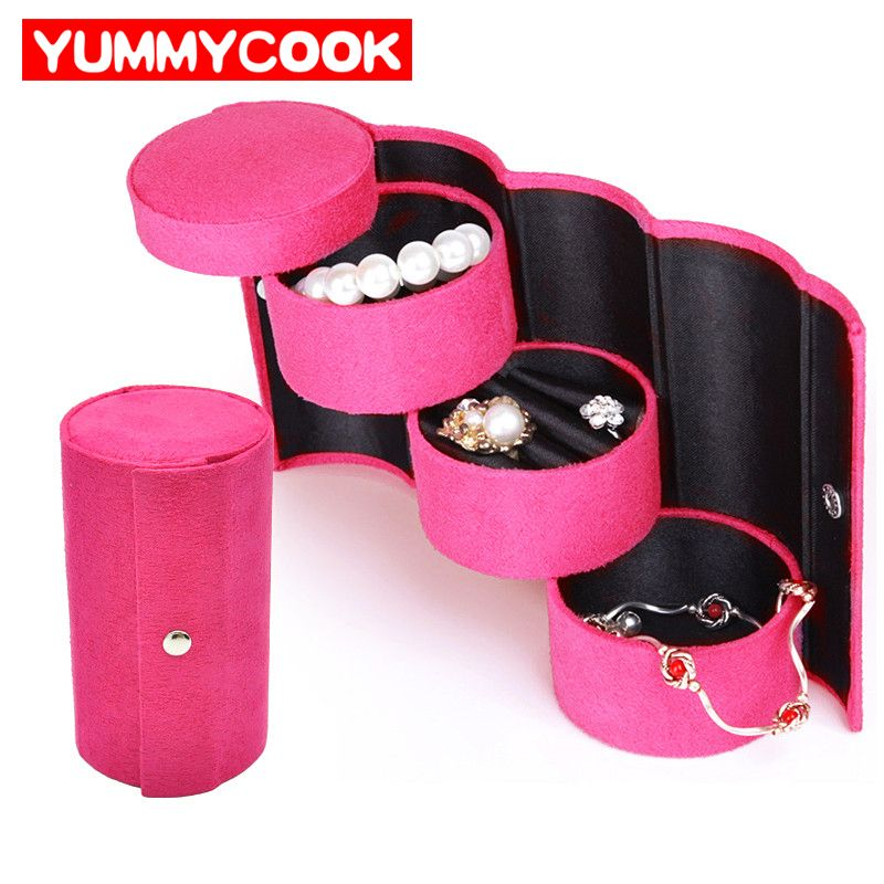 3 Layers Round Jewelry Storage Boxes Bins For Necklace Ring