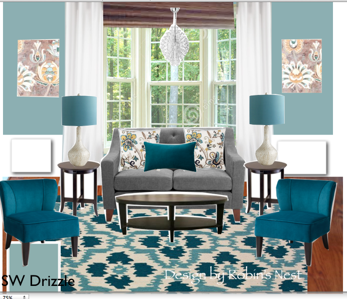 Teal And Gray Or Grey Which Is Correct Living Room With Awesome Ikat