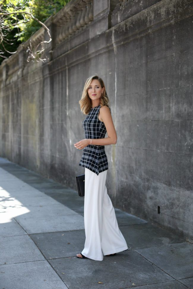 black white plaid peplum theory knit top ivory wide leg