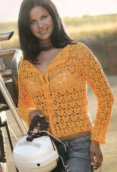 crochelinhasagulhas: Casaco amarelo em crochê