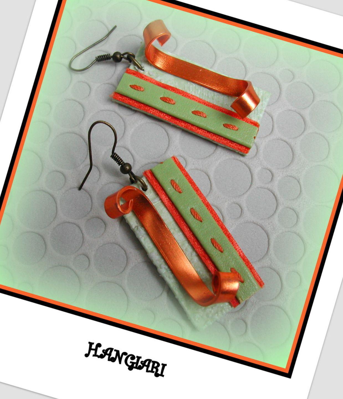 alittlemarket/Boucles d'oreilles rectangulaires, vert anis, orange, aluminium plat orange, carton : Boucles d'oreille par boucles-d-oreilles-originales-insolites