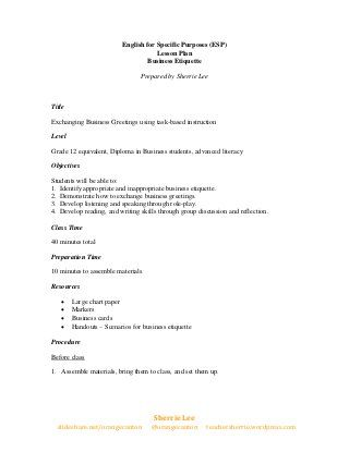 ESP Lesson Plan on Business Etiquette Business Education Lesson - lesson plan
