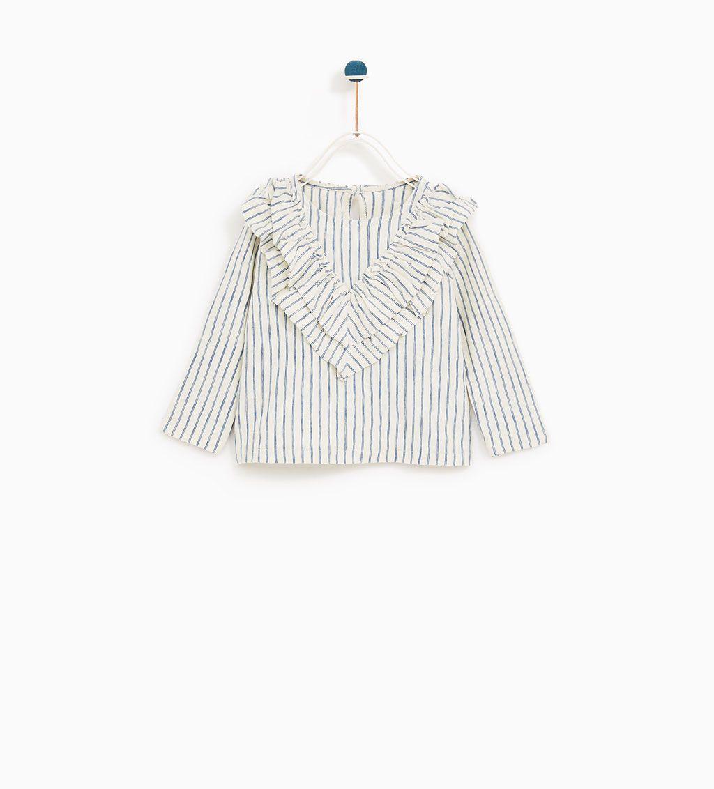 Image 1 of STRIPED T-SHIRT WITH FRILLS from Zara | Quần áo, Thời trang,  Trang phục cho bé gái
