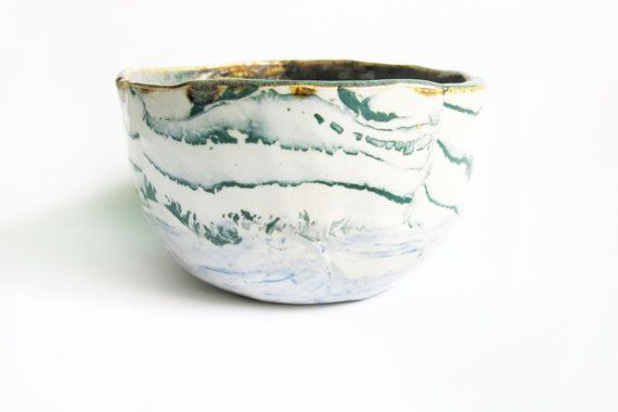 Handmade marbled porcelain bowl by LeahBall on Etsy, $30.00